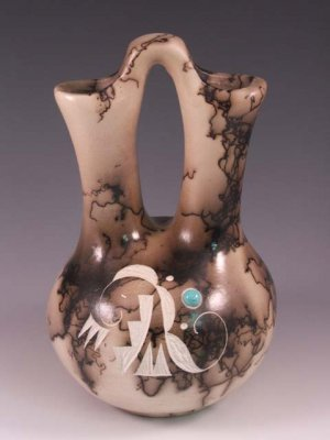 Native American Indian Horsehair Wedding Vase Pottery Pot