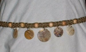 HEMP NECKLACE SHELL DISKS AND WOOD BEADS # 2