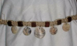 HEMP NECKLACE SHELL DISKS AND WOOD BEADS # 1