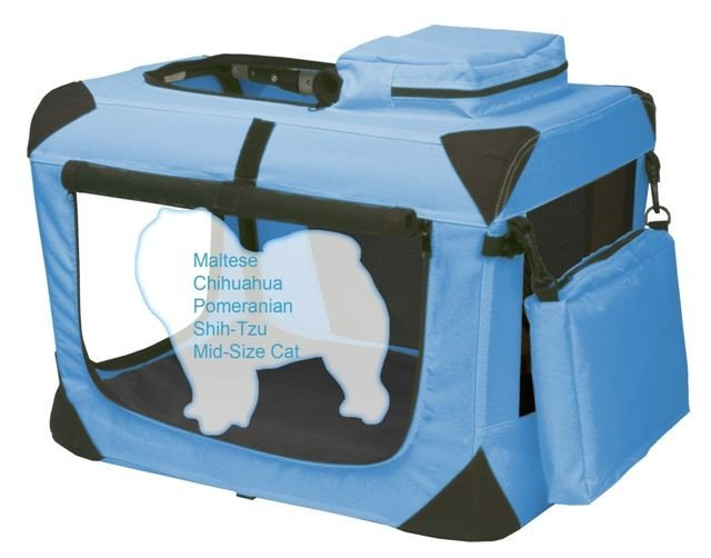 Extra Small Pet Gear Deluxe Soft Crate, Generation II - Ocean Blue holds pets up to 15 lbs.