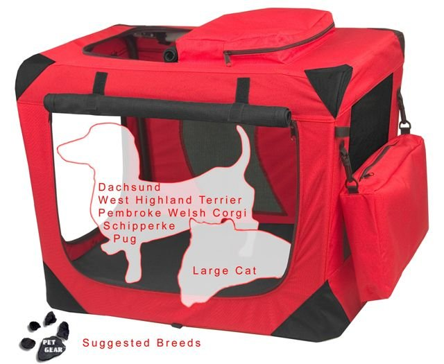 Small Pet Gear Deluxe Soft Crate, Generation II - Pink or Red Poppy holds up to 30 lbs.