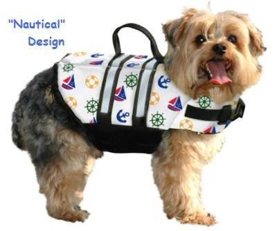 Paws Aboard Nautical or Pink or Blue Polka Dot Designer Dog Safety Life Jacket Vest Preserver Medium