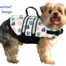 Paws Aboard Nautical or Pink or Blue Polka Dot Designer Dog Safety Life Jacket Vest Preserver Medium