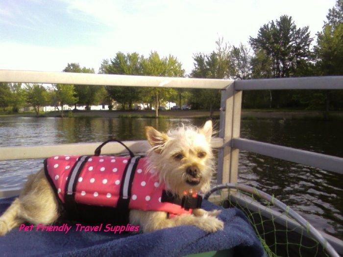 Paws Aboard Pink or Blue Polka Dot Designer Dog Safety Life Jacket Vest Preserver Small
