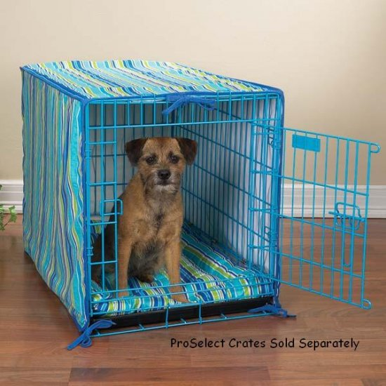 """2 pc crate cover and bed set matches Proselect Colored Wire Dog Crate Medium 30"""" Blue or Pink"""