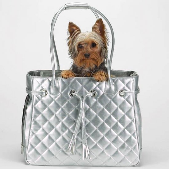 Large up to 22 lbs Zack & Zoey Quilted Metallic Pet Carriers Dog Tote Cat Purse GOLD or SILVER