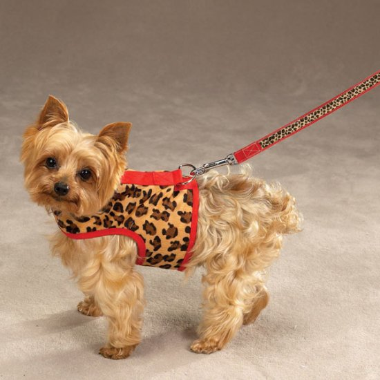 Small Zack & Zoey Safari Harness Vests RED LEOPARD
