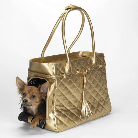 Small up to 11 lbs Zack & Zoey Quilted Metallic Pet Carriers Dog Tote Cat Purse GOLD or SILVER