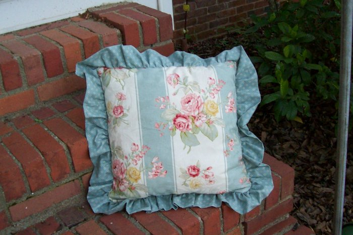 Chic & Shabby Pillow--Pink Roses, Ruffles, Sage Green, Home Decor