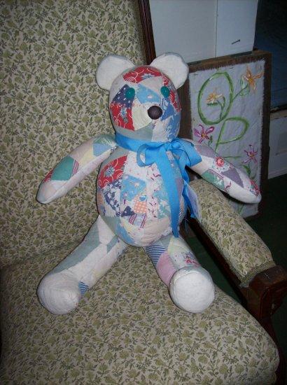 Vintage Quilt Teddy Bear  Hand sewn One of a Kind Adopt a Bear