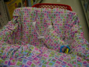 Pink Squares Shopping Cart Cover