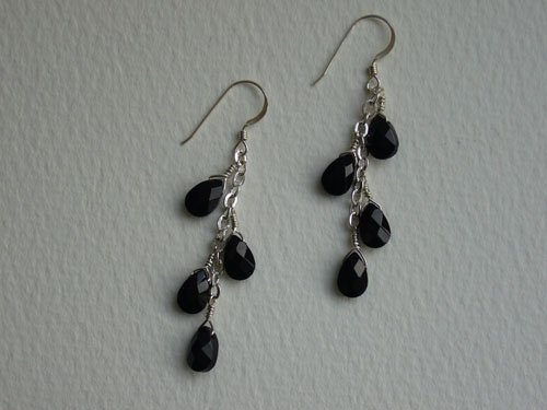 SOLD: Black Faceted Glass Bead & Sterling Silver Earrings