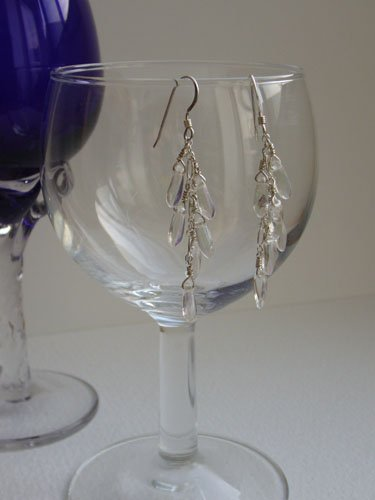 SOLD: Sterling Silver & Clear Glass Bead Earrings