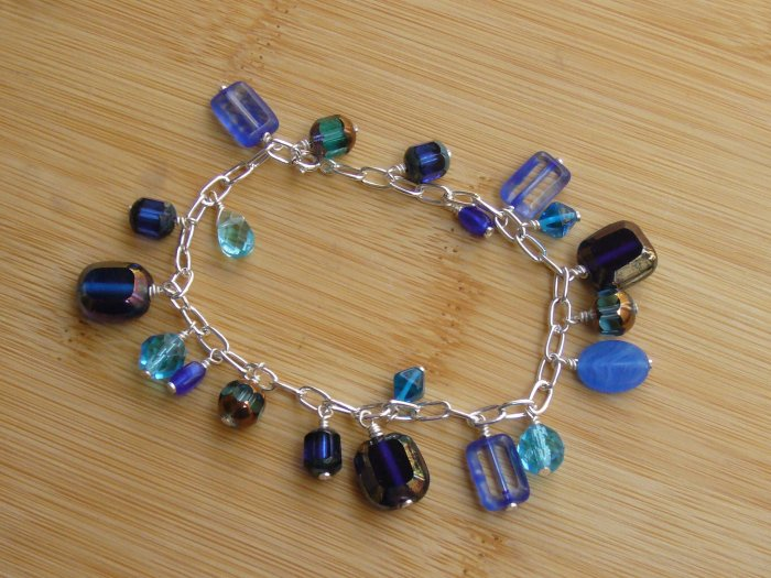 Gorgeous Blue Glass Beads Silver Charm Bracelet