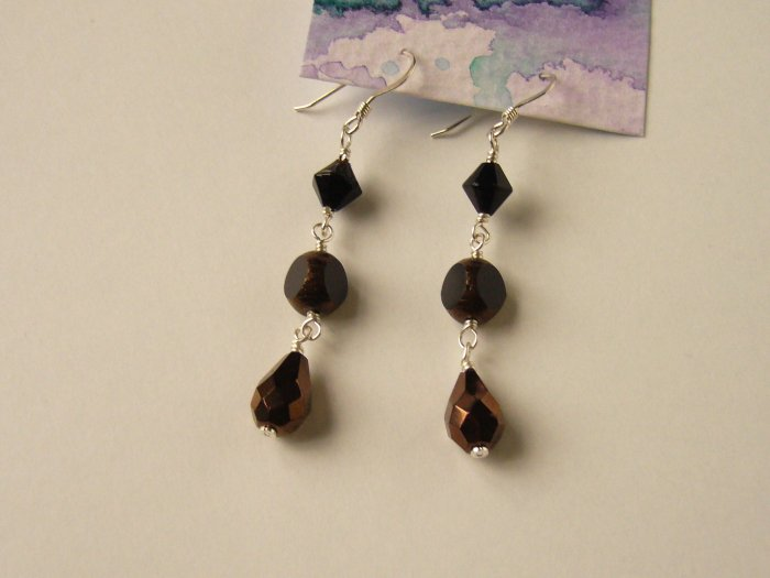 Elegant Black and Brown Czech Glass Bead Earrings