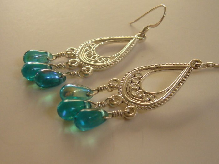 Silver Dangly Earrings with Blue Glass Beads