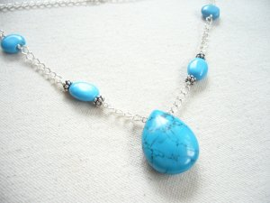 Turquoise & Silver Chain Necklace