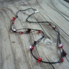 Black Silk & Red Swarovski Glass Bead Necklace