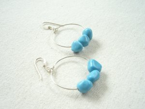 Bright and Beautiful Turquoise Hoop Earrings