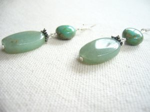 Gorgeous Green Glass and Silver Earrings