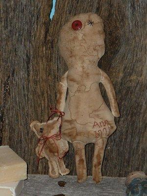 Primitive 1771 Prairie Ann Doll With Her Teddy Bear E Pattern