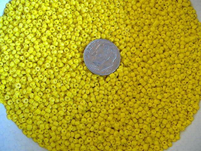 Size 11 Matsuno seed beads opaque yellow 15 grams