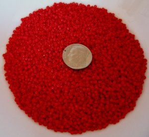Size 11 Matsuno seed beads opaque red15 grams