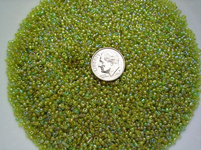 Size 11 Celestial rainbow beads lime 15 grams