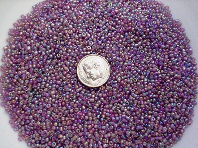 Size 11 Celestial rainbow beads purple 15 grams