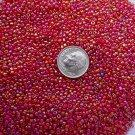 Size 11 Celestial rainbow beads ruby 15 grams