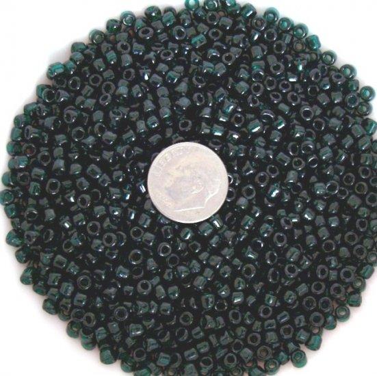 Size 6 transparent seed beads 25 grams Dark Emerald