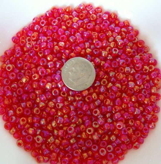 Size 6 seed beads Transparent Luster 25 Grams Red