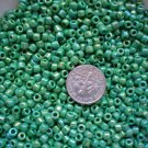 Size 6 seed beads Opaque Rainbow luster 25 grams Green