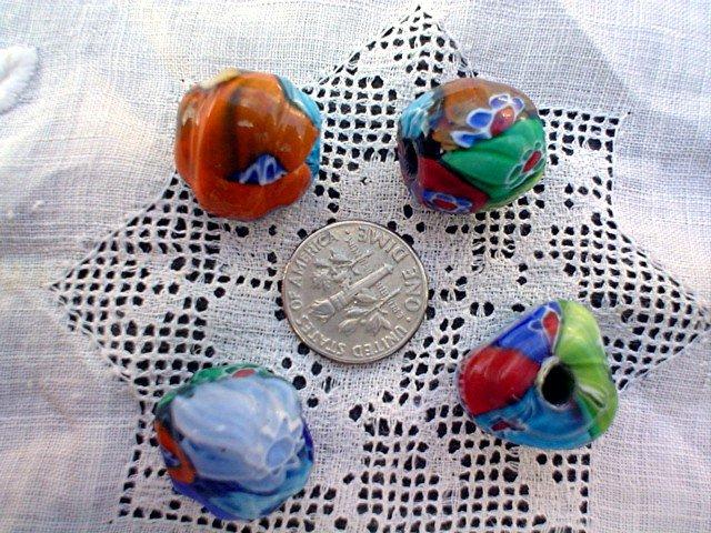 Handmade Venetian style glass flower beads Triangular 4 bead package LIMITED SUPPLY
