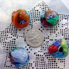 Handmade Venetian style glass flower beads Triangular 4 bead package LIMITED SUPPLY