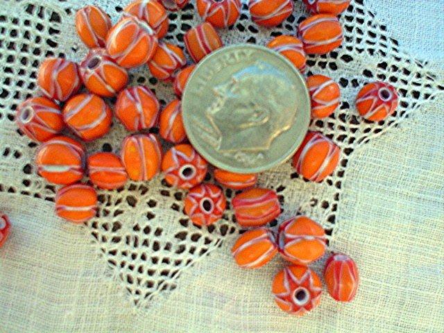 Handmade chevron beads glass 6 mm 25 grams pumpkin orange