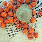 Handmade chevron beads glass 6 mm 25 grams pumpkin orange