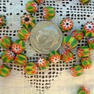 Handmade chevron beads glass 6 mm 25 grams green