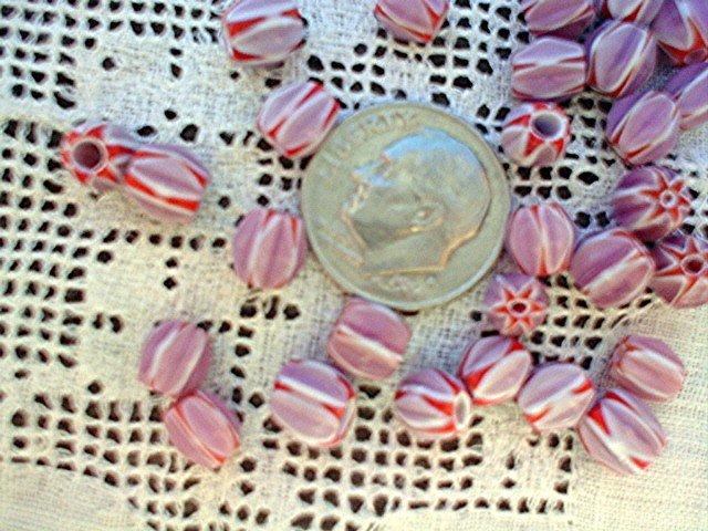 Handmade chevron beads glass 6 mm 25 grams lilac