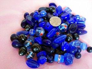 Bulk mixed beads.  Hand made.1 pound blue