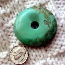 Turquoise donut pendant undrilled Aproximately 40 mm a009