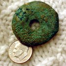 Turquoise donut pendant undrilled aproximately 33mm a011