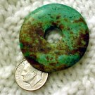 Turquoise donut pendant undrilled aproximately 37 mm a013