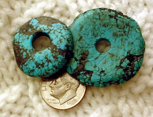 Turquoise donut pendants undrilled 24mm and 31 mm  a015