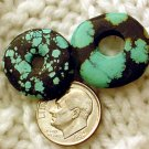 Turquoise donut pendants undrilled 20mm and 21 mm a016