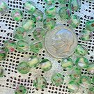 Round glass flower beads Clear Transparent 6.5 mm 25 grams (about 80 beads)