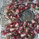 Round glass flower beads Amethyst Transparent 6.5 mm 25 grams (about 80 beads)
