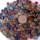 Glass puff hearts 8mm AB Aurora Borealis finish one side clear on the other side 50 Gm