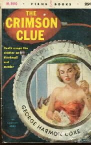 THE CRIMSON CLUE George Harmon Coxe 1955 Perma PB