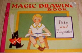 Magic Drawing Book PETS & PLAYMATES Illustrated-VINTAGE